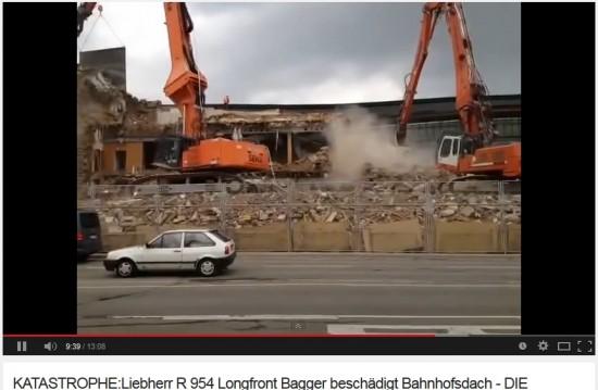 Dachschaden der DB - Quelle: Youtube