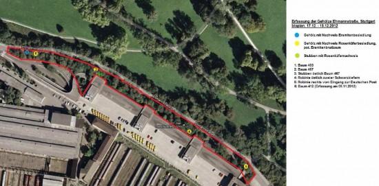 Auch auf dem Postgelände befinden sich Habitatbäume. Gerodet werden soll hier, um eine neue Zufahrt, als Brücke über die Tunnelbaustelle, an die in den Park verlegte Ehmannstraße anzubinden.