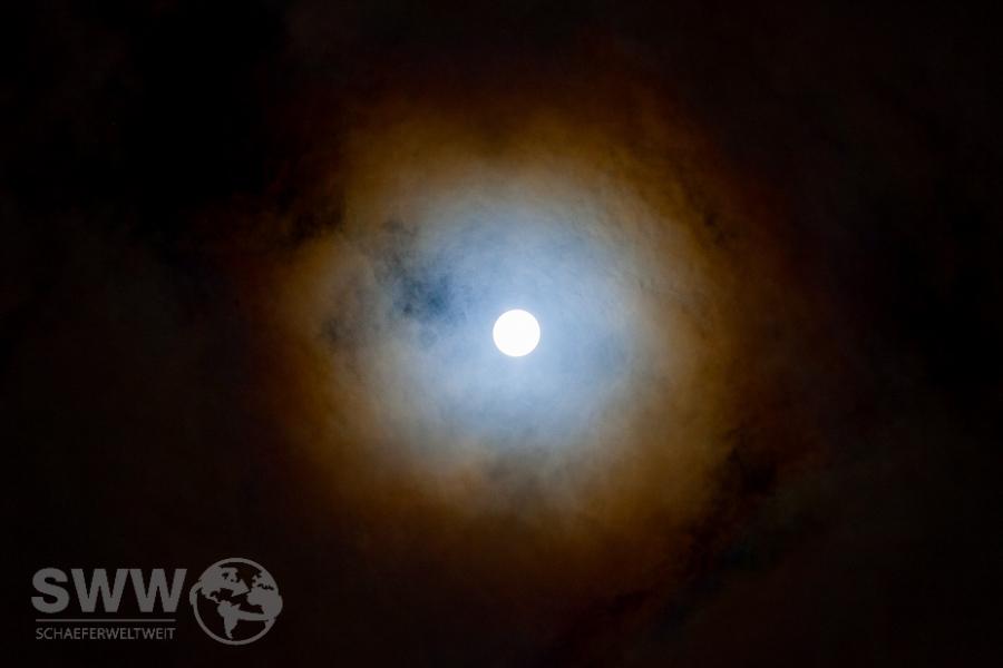 Vollmond 25.12.2015 mit Mondhof / lunarer Korona
